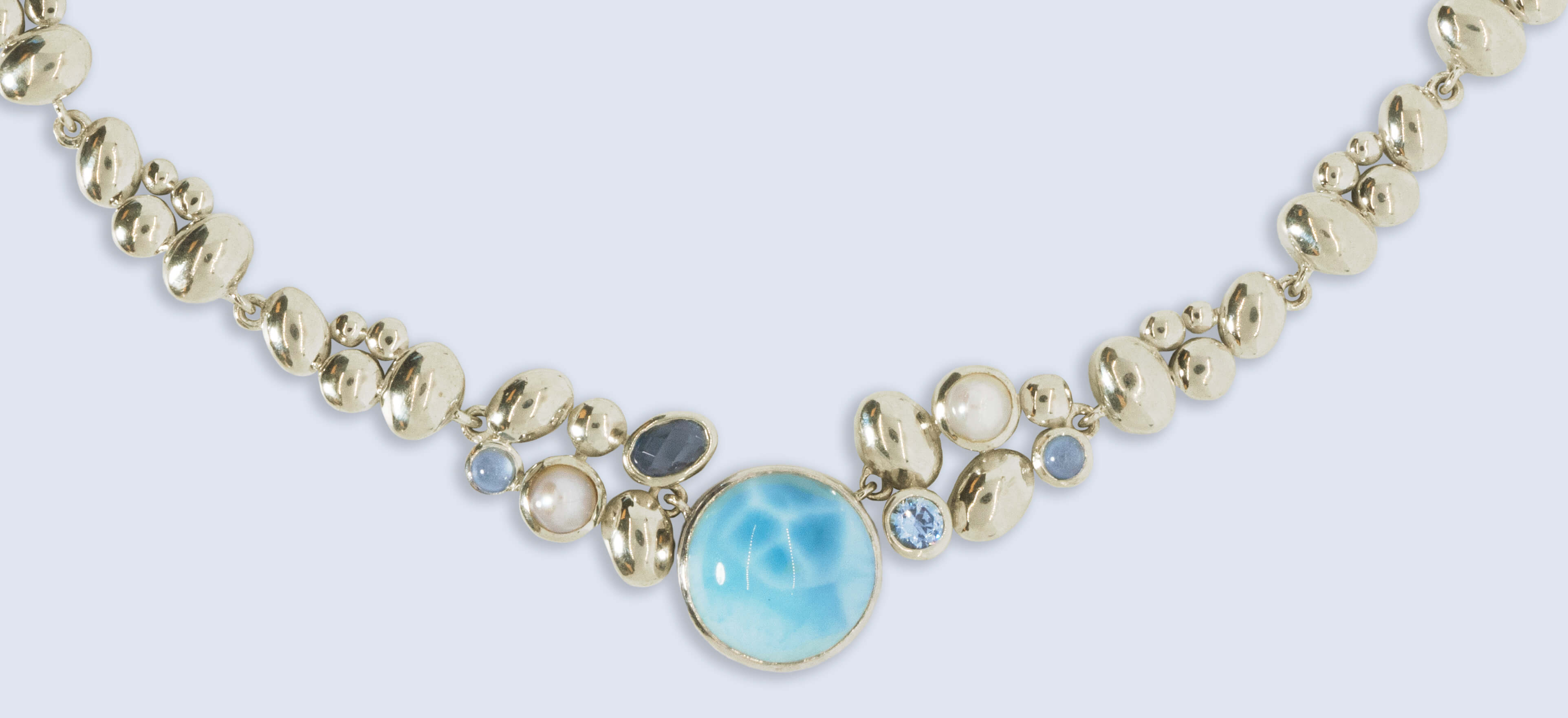 Tarnished sterling silver larimar gemstone jewelry