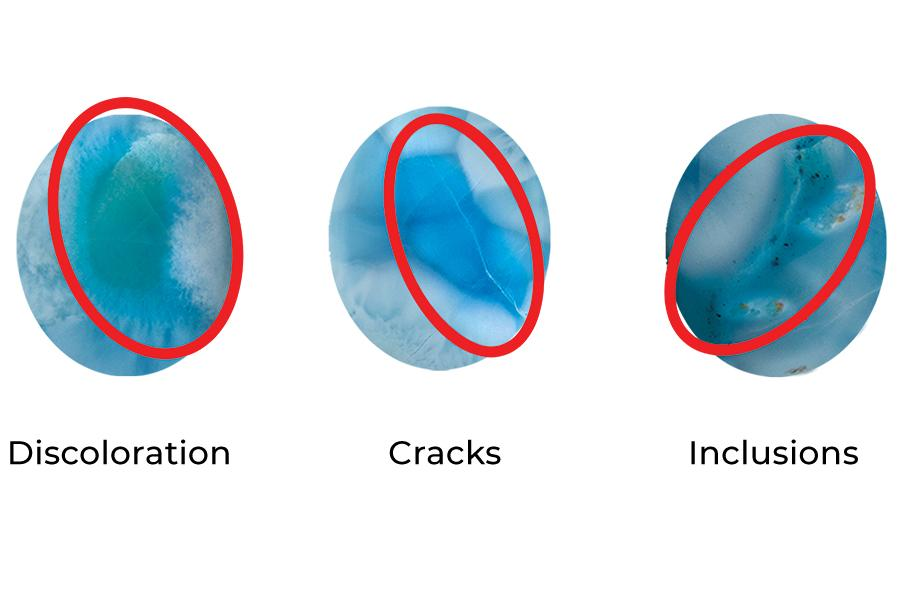 To evaluate Larimar: discoloration, inclusions and cracks. Determines rarity, grading scale.