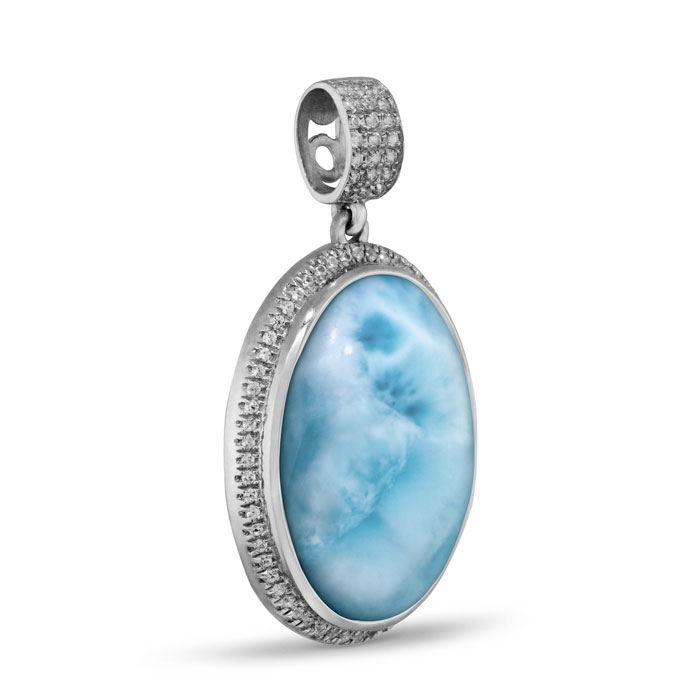 Clarity Oval Large Larimar Necklace