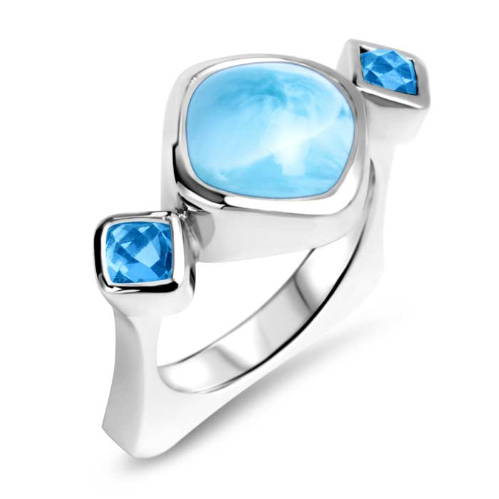 Atlantic Cushion Larimar Ring