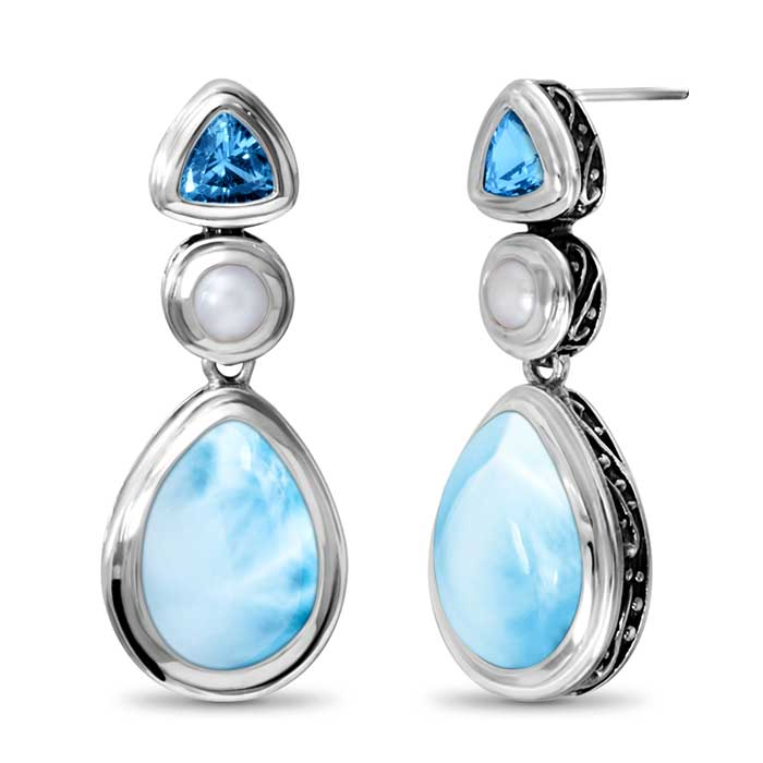 Marahlago Pear Azure Larimar Earrings
