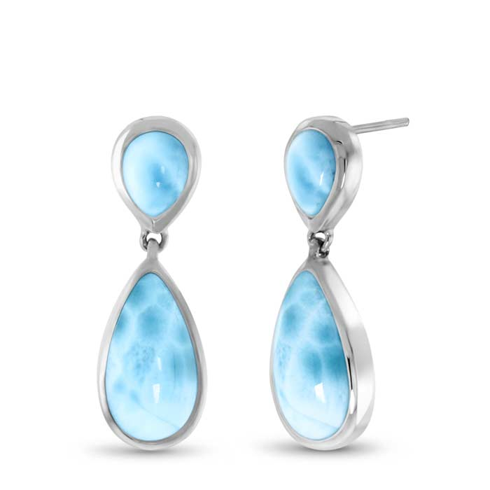 Basic Double Pear Larimar Earrings