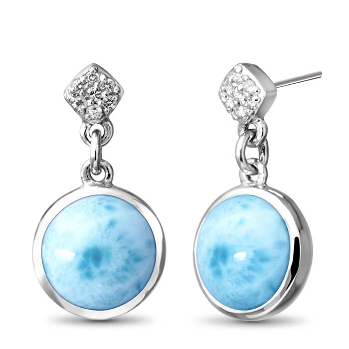 Bliss Round Larimar Earrings