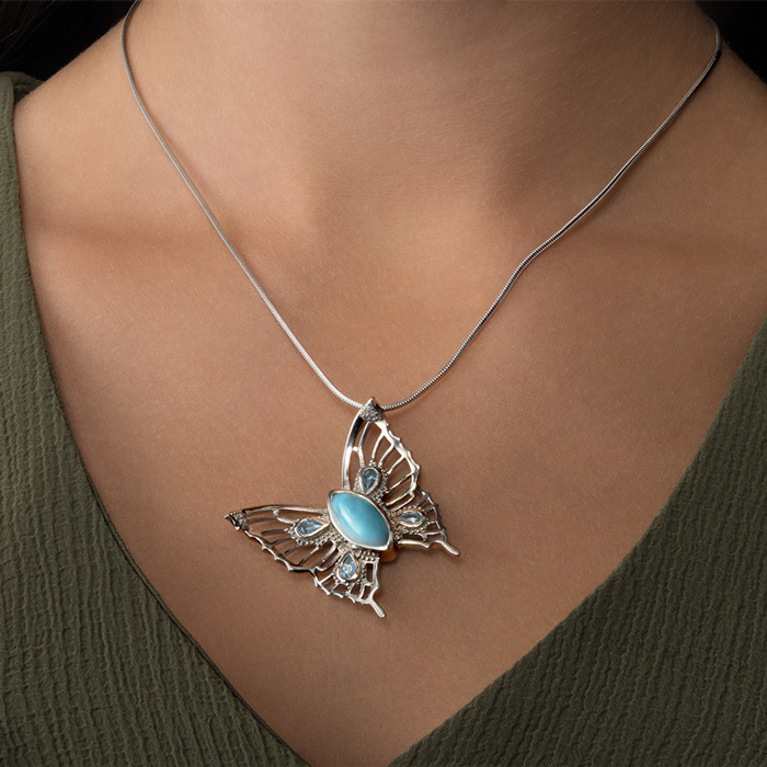 Large Butterfly Larimar Necklace
