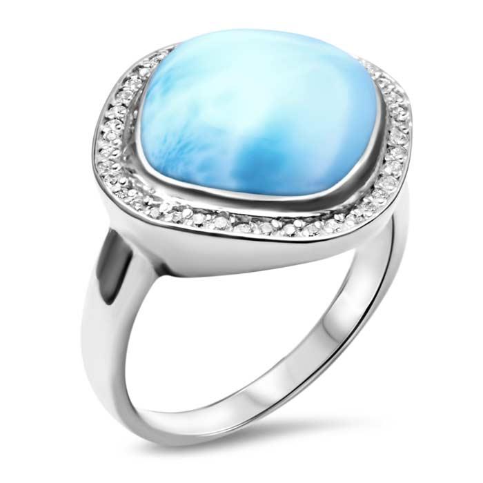 Clarity Cushion Larimar Ring