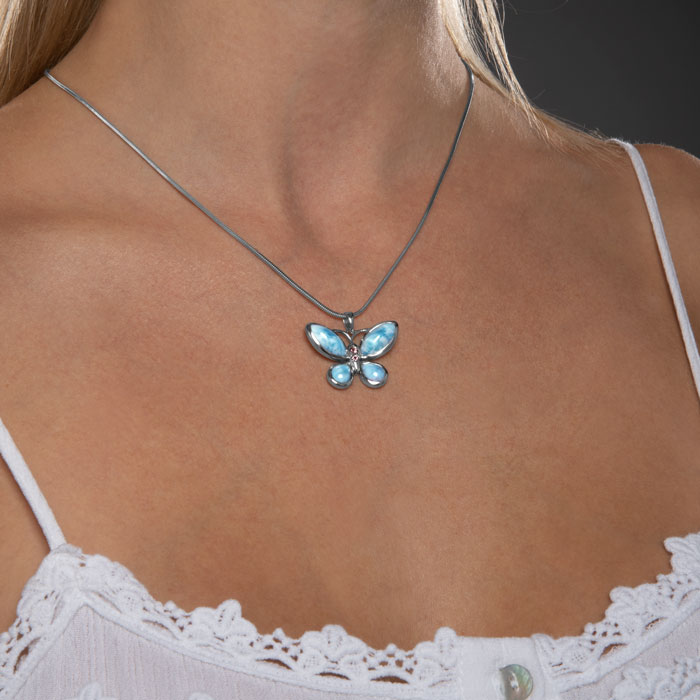 Butterfly Larimar Necklace
