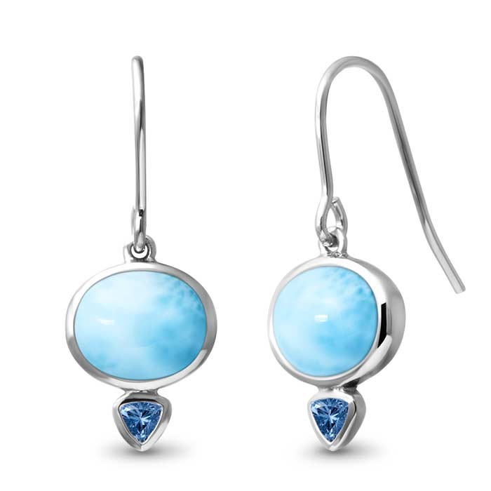Marahlago Oval Naples Larimar Earrings