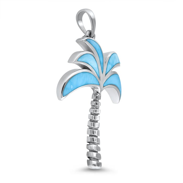 Oxidized Palm Tree Larimar Pendant