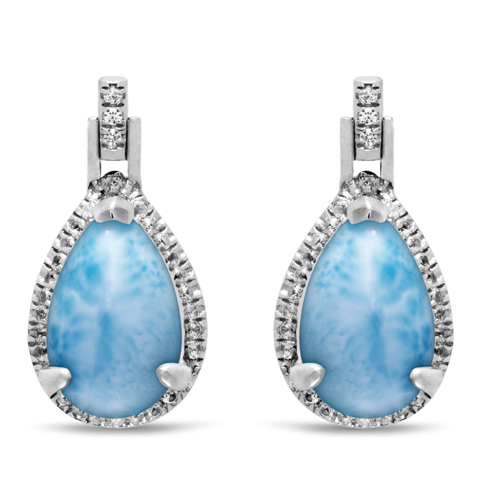 Radiance Pear Larimar Earrings
