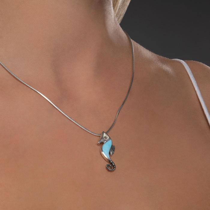 Seahorse Larimar Necklace with MOP
